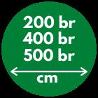 200, 400 en 500 cm breed leverbaar