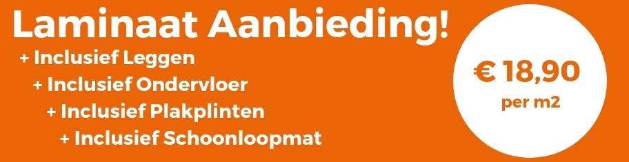 Laminaat All-in, laminaat inclusief gratis leggen, alufoam ondervloer en plakplinten al voor € 19,95. Wij leggen door heel Nederland. Vraag gratis staal.