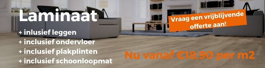 Laminaat vloer gratis gelegd, ondervloer en plakplinten