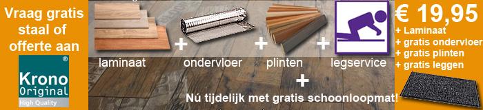 Laminaat All-in, laminaat inclusief gratis leggen, alufoam ondervloer en plakplinten al voor € 18,50. Wij leggen door heel Nederland. Vraag gratis staal.