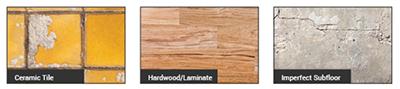 COREtec kan op alle vlakke ondergronden zoals hout, tegels, beton