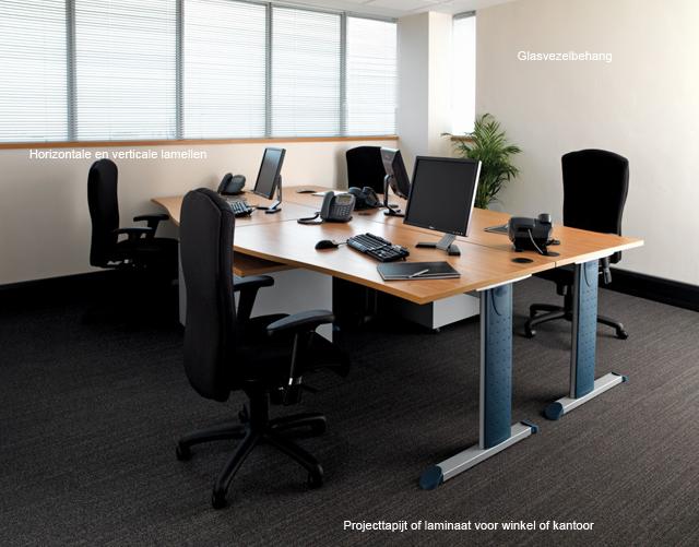 Complete kantoorinrichting of stofferen, projecttapijt, glasvezelbehang en raamdecoratie